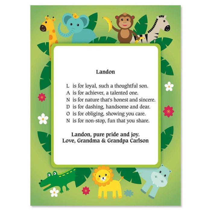 Safari Name Poem Print