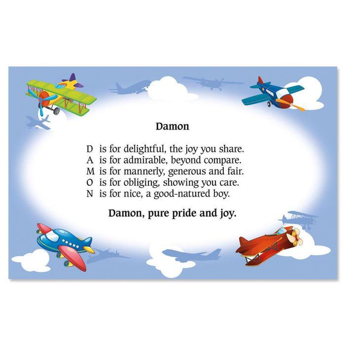 Airplane Name Poem Placemat
