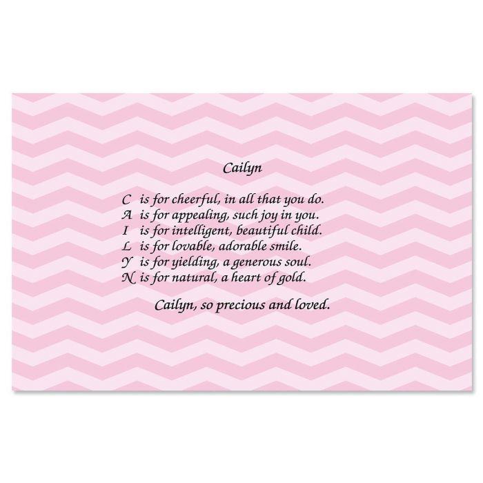 Chevron Pink Name Poem Placemat