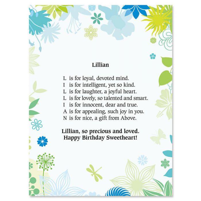 Floral Name Poem Print