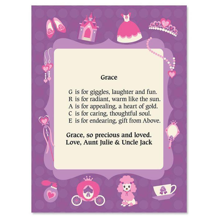Princess Name Poem Print