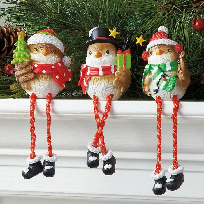 Christmas Bird Shelf Sitters Figurines