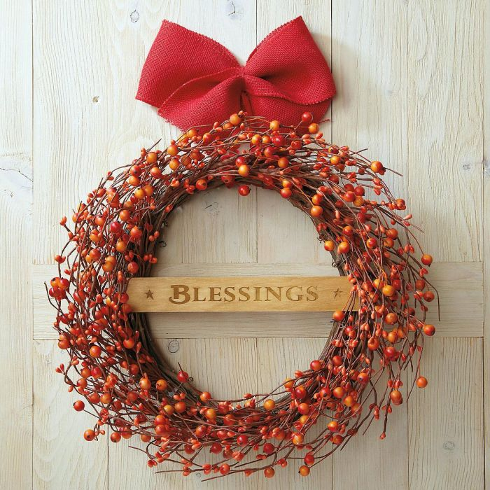 Orange Berry Wreath with Sign