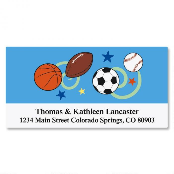 Sports Balls Deluxe Address Labels