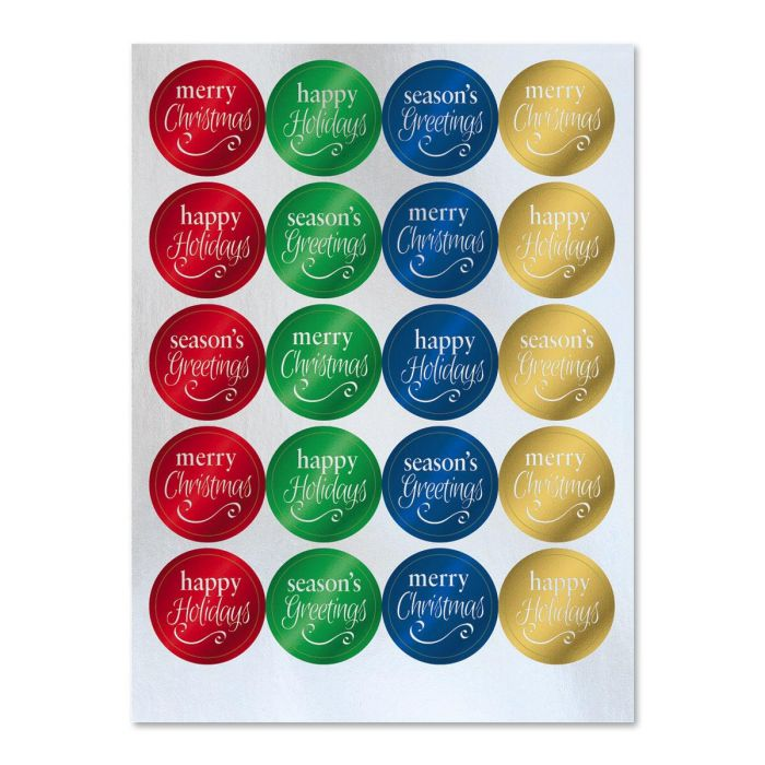 Foil Christmas Sentiments Stickers - Buy 1 Get 1 Free