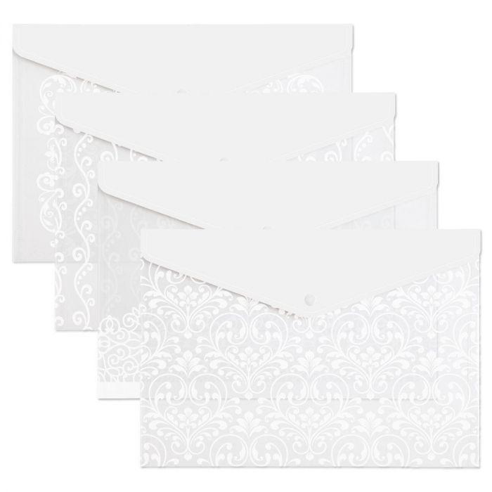 White Scroll Pattern Snap Folders