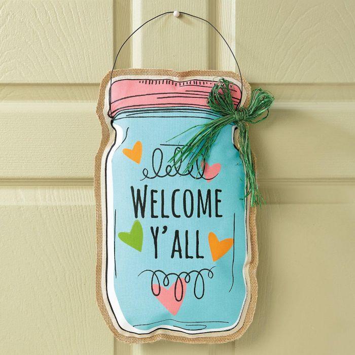 Welcome Mason Jar Door Decoration
