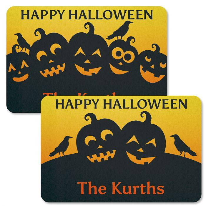 Jack-o'-Lantern Silhouettes Personalized Halloween Doormats