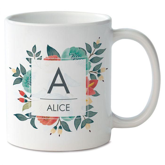 Floral Initial & Name Novelty Mug