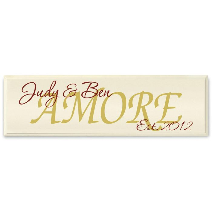 Amore Personalized Wooden Plaque