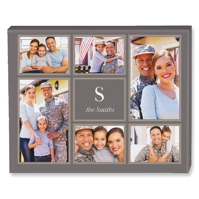 Monogram Grey Collage Photo Canvas