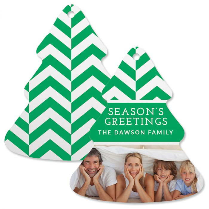 Green Chevron Custom Photo Ornament – Tree