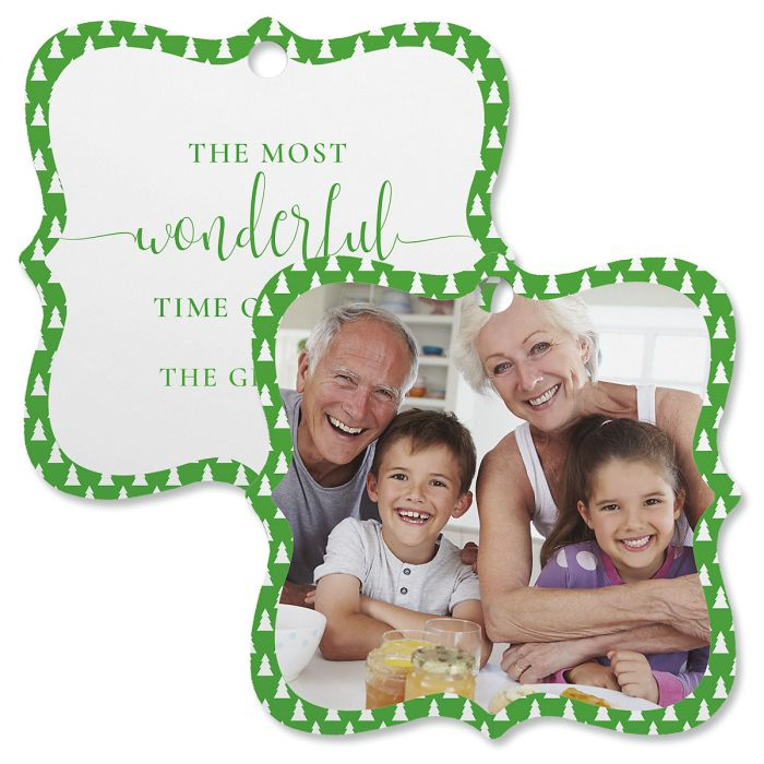 Green Tree Custom Photo Ornament – Square Bracket