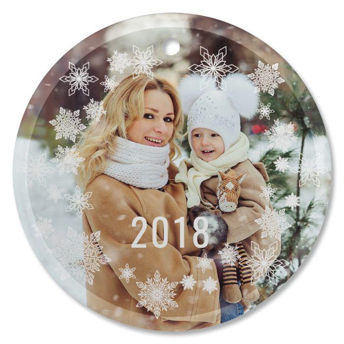 Snowflake Custom Photo Ornament - Glass Round