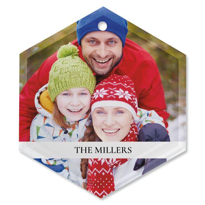 Family Name Custom Photo Ornament - Glass Hexagon