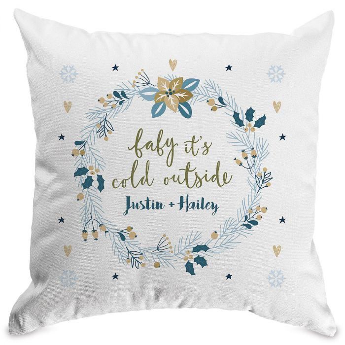 Baby It'S Cold Personalized Pillow White