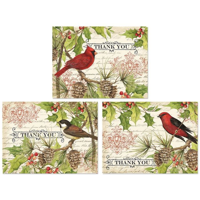 Holly & Birds Thank You Note Cards -  Buy 1 Get 1 Free