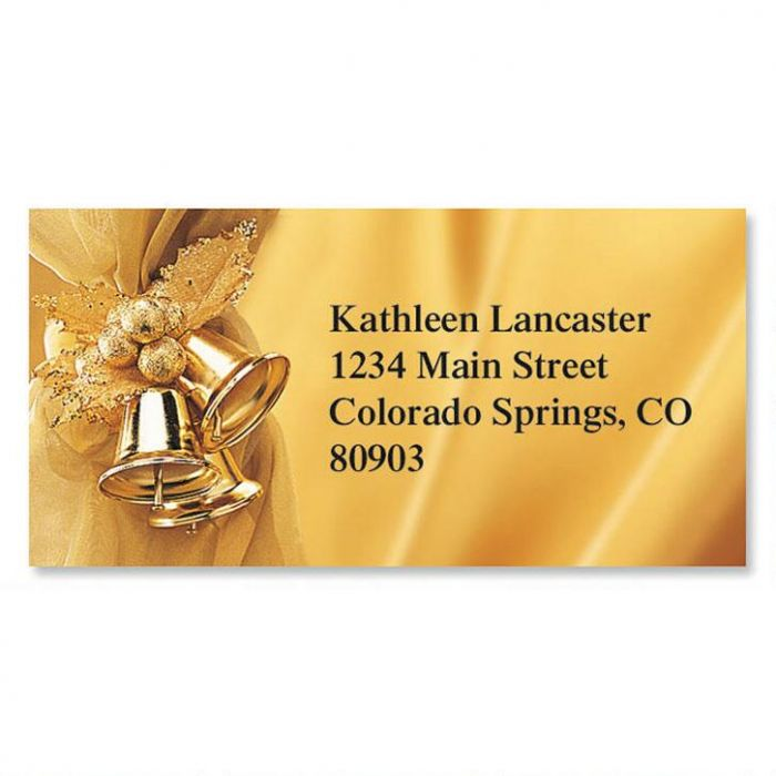 Golden Bells Border Return Address Labels