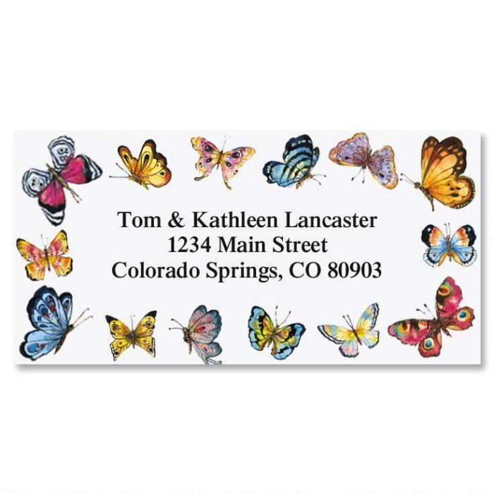 Butterfly Border Return Address Labels