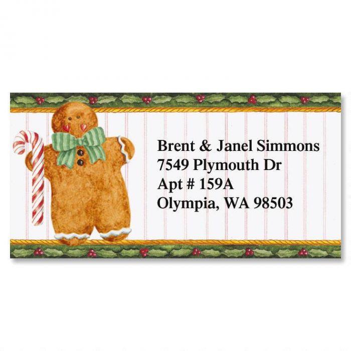 Holiday Gingerbread Border Return Address Labels