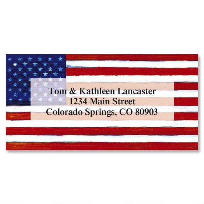 American Flag Border Return Address Labels