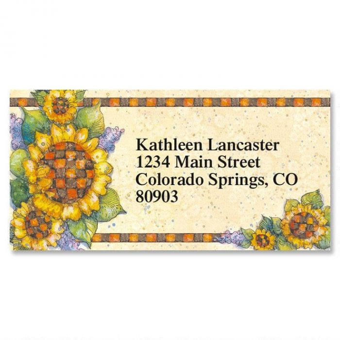 Country Sunflowers Border Return Address Labels