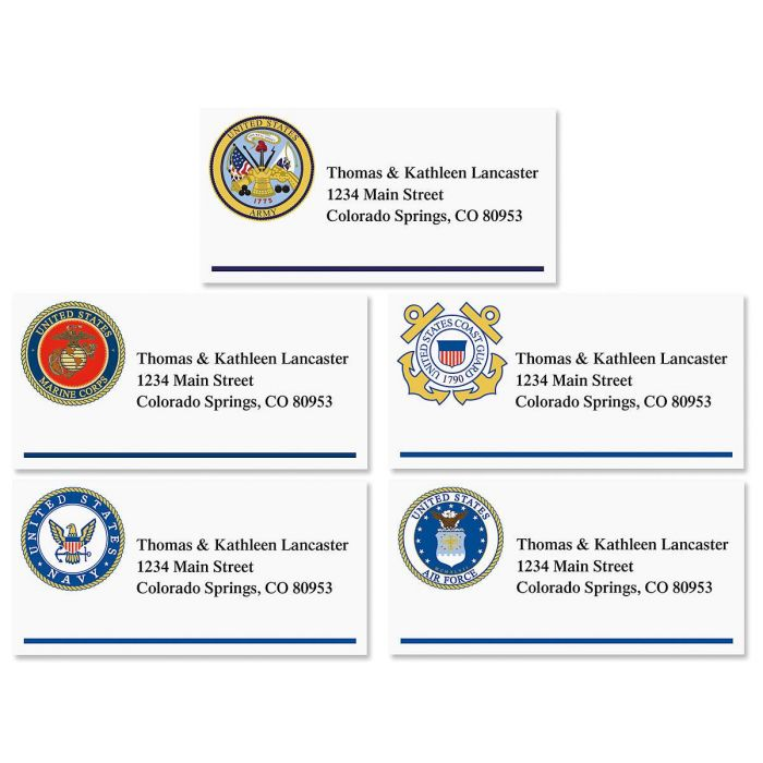 Military Emblem Border Address Labels