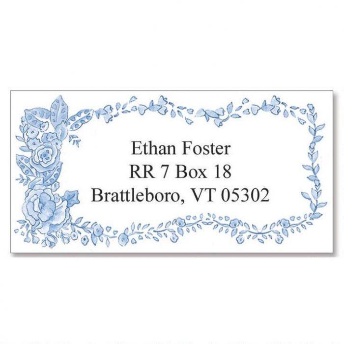 Blue Bouquet  Border Return Address Labels