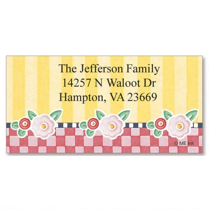 Mary's Posies  Border Return Address Labels