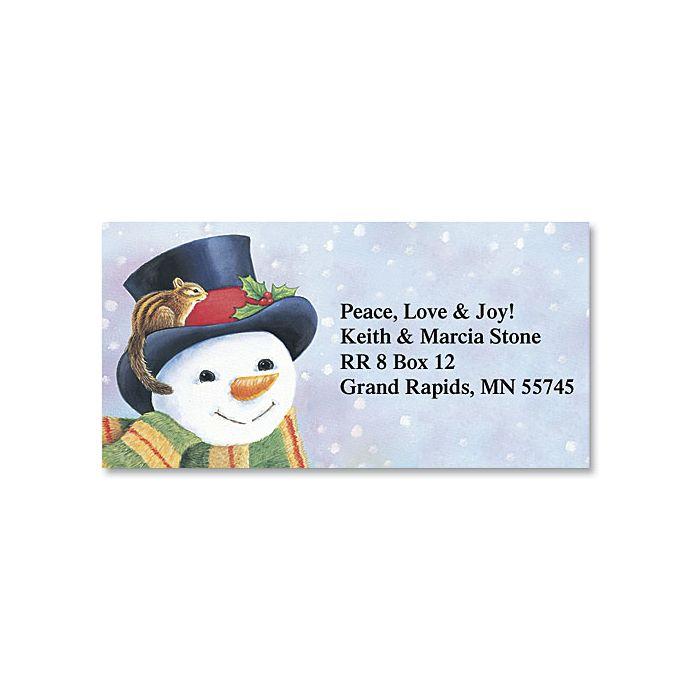 Snowman Holiday Border Return Address Labels