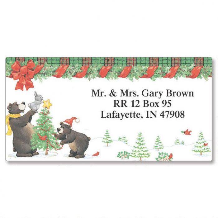 Black Bears Border Return Address Labels