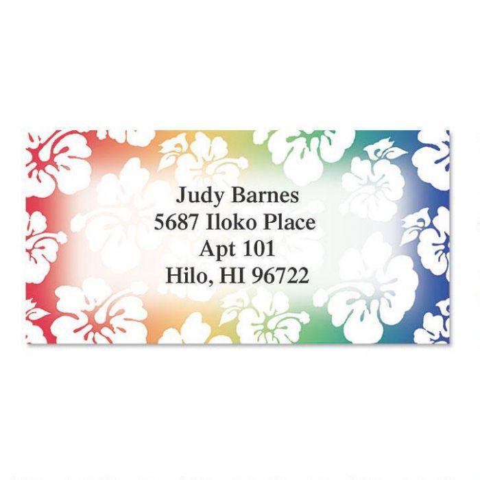 Hawaiian Print Border Return Address Labels