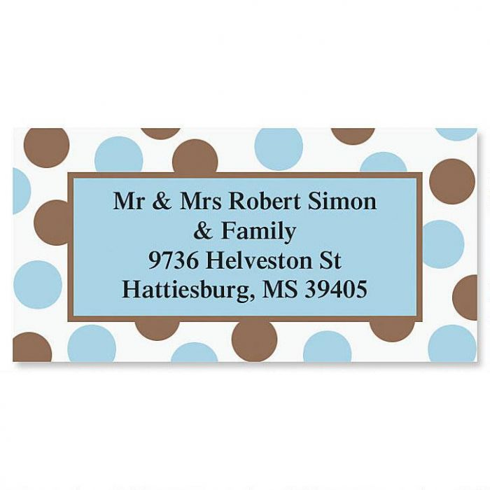 Blue & Brown Border Return Address Labels