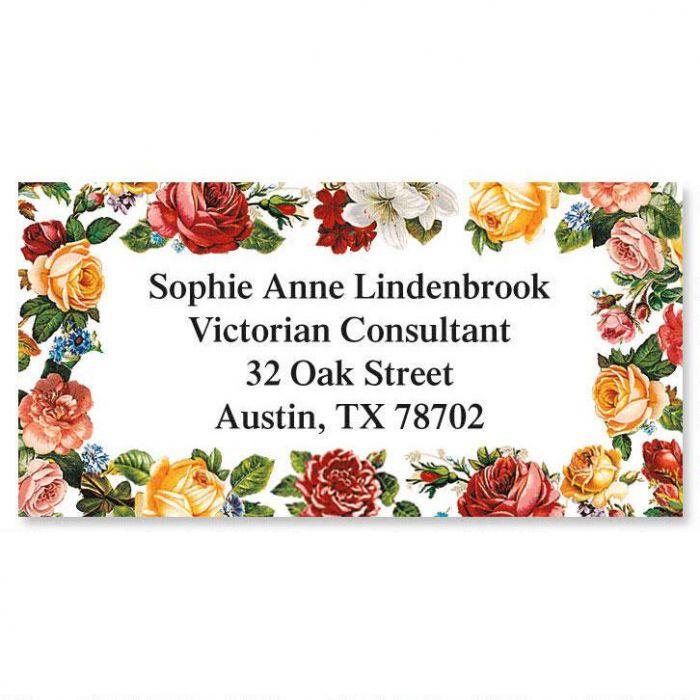 Victorian Roses Border Return Address Labels
