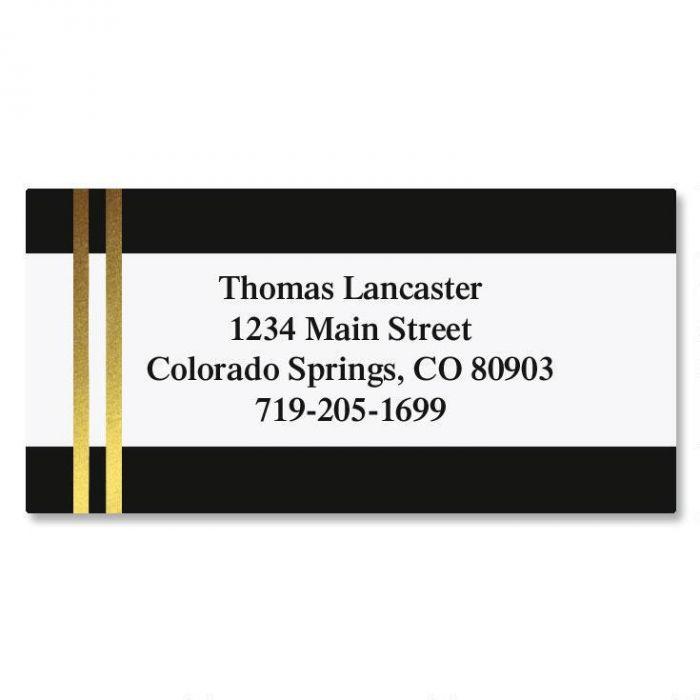 Black and Double Gold Foil Border Return Address Labels