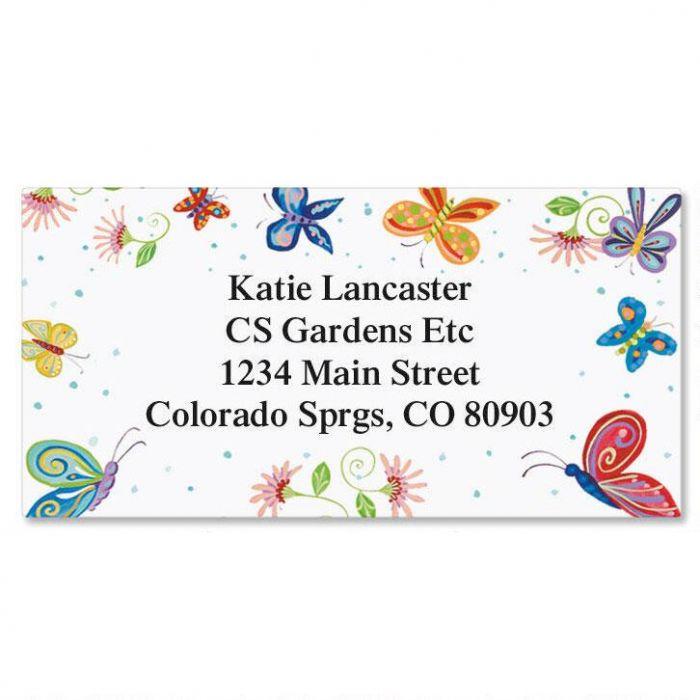 Floral Butterflies  Border Return Address Labels