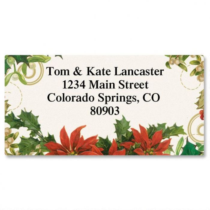 Holly Collage Christmas Border Return Address Labels