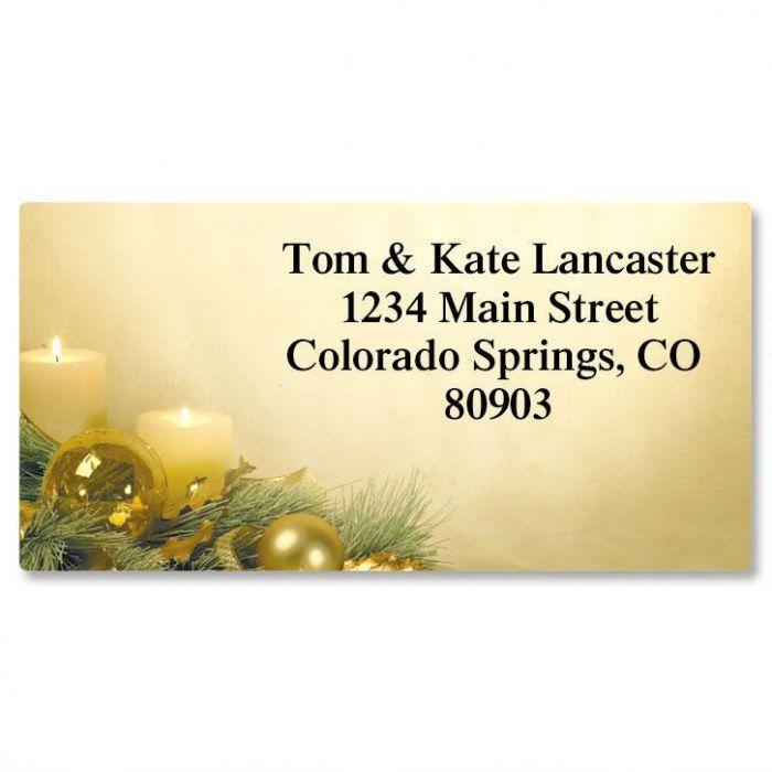 Glistening Christmas Border Return Address Labels