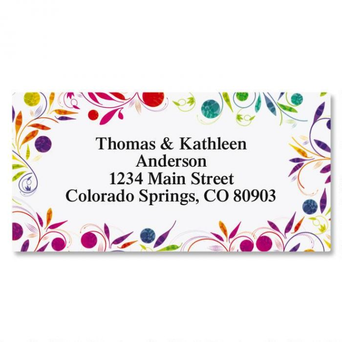 Color Swirl Border Return Address Labels