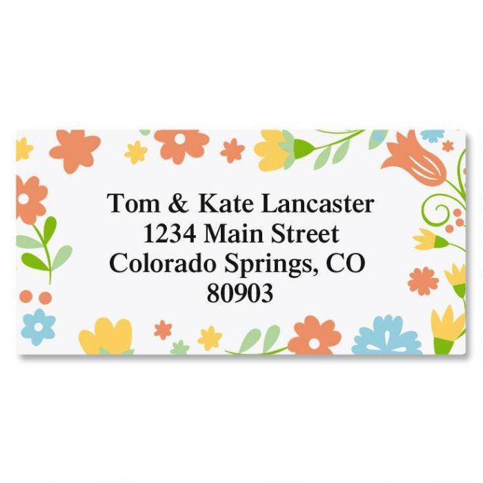 Floral Stencil Border Return Address Labels