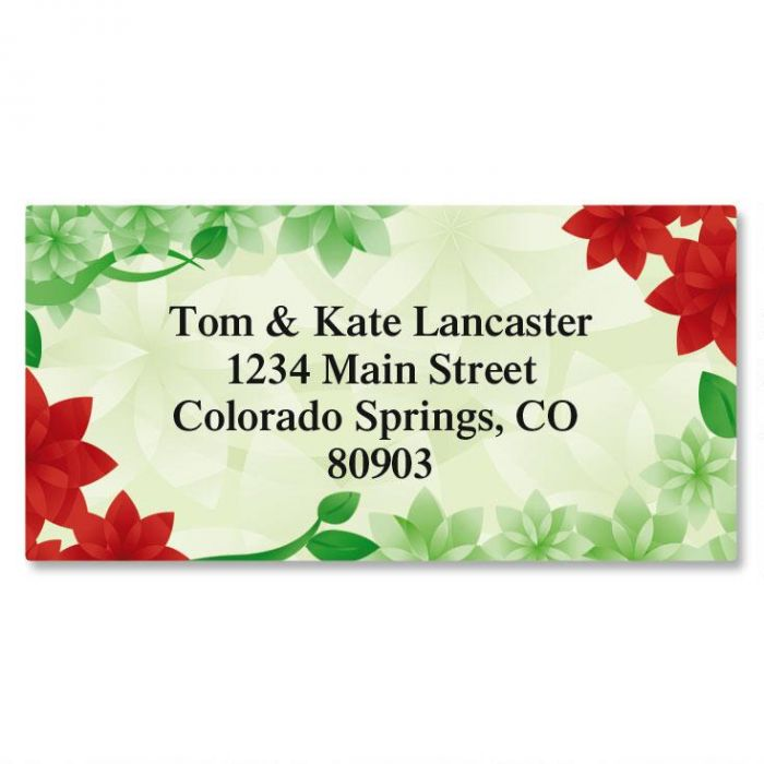 Poinsettia Petals Christmas Border Return Address Labels
