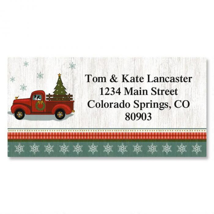 Holiday Truck Christmas Border Return Address Labels