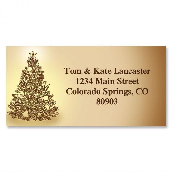 Tinted Tree Christmas Border Return Address Labels