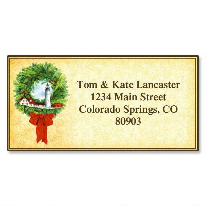 Lighthouse Wreath Christmas Border Return Address Labels