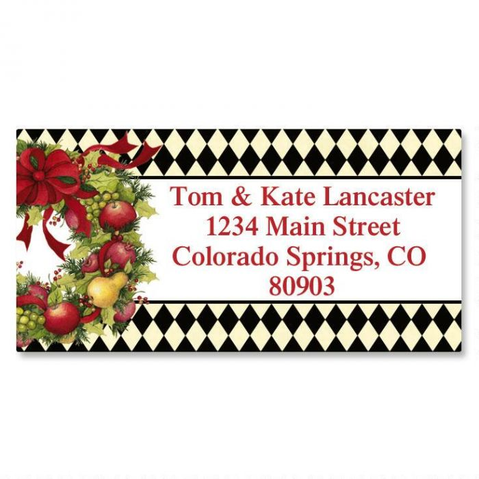 Harlequin Wreath Christmas Border Return Address Labels