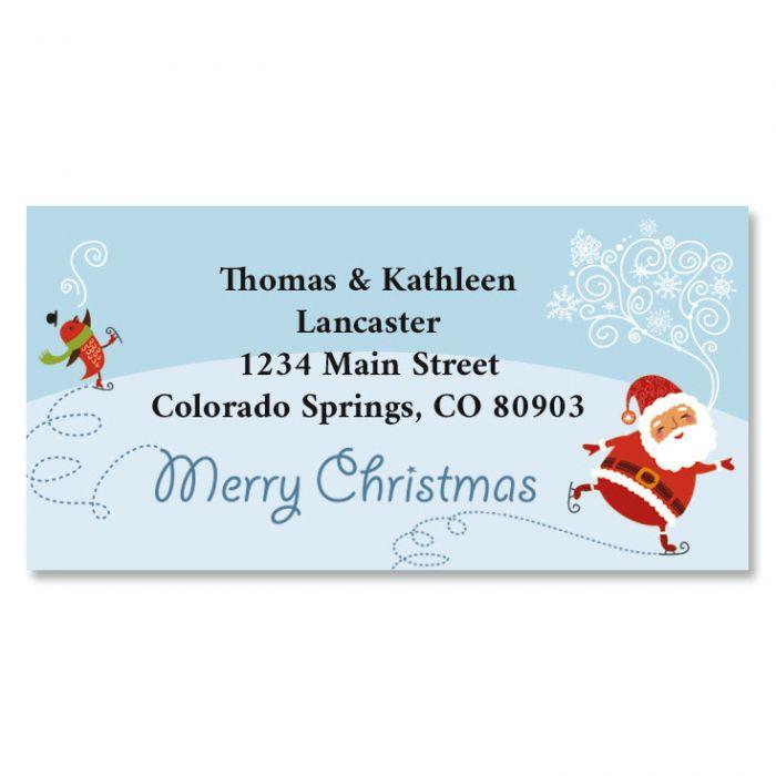 ice skating santa christmas border return address labels - Merry Christmas Border