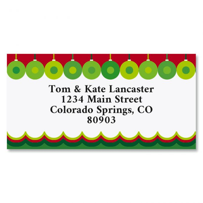 Abstract Christmas Border Return Address Labels