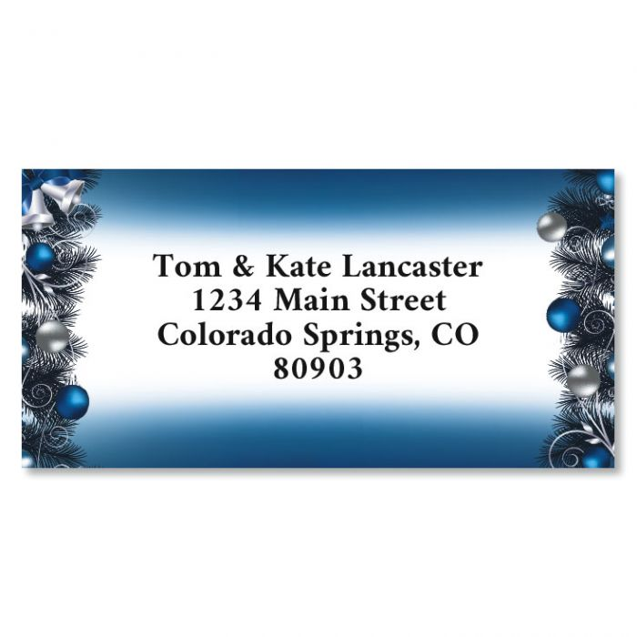 Blue Christmas Border Christmas Address Labels