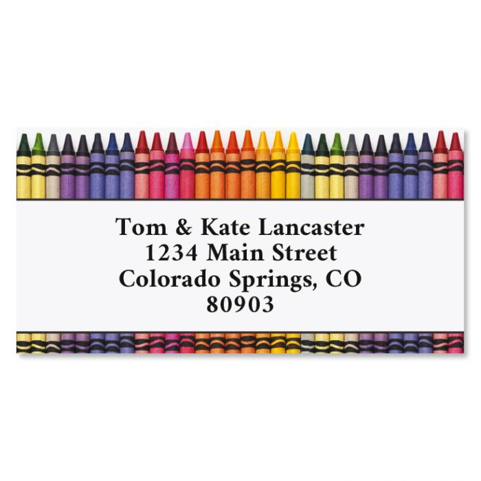 Crayons Border Return Address Labels