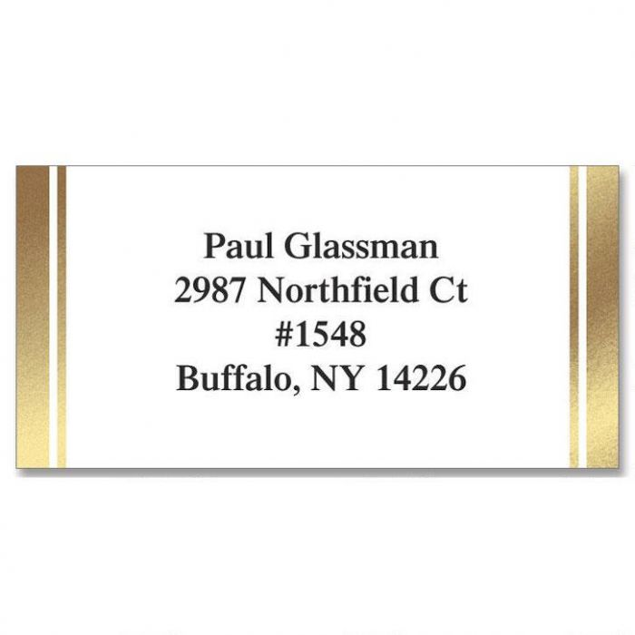 White & Gold  Foil Return Address Labels